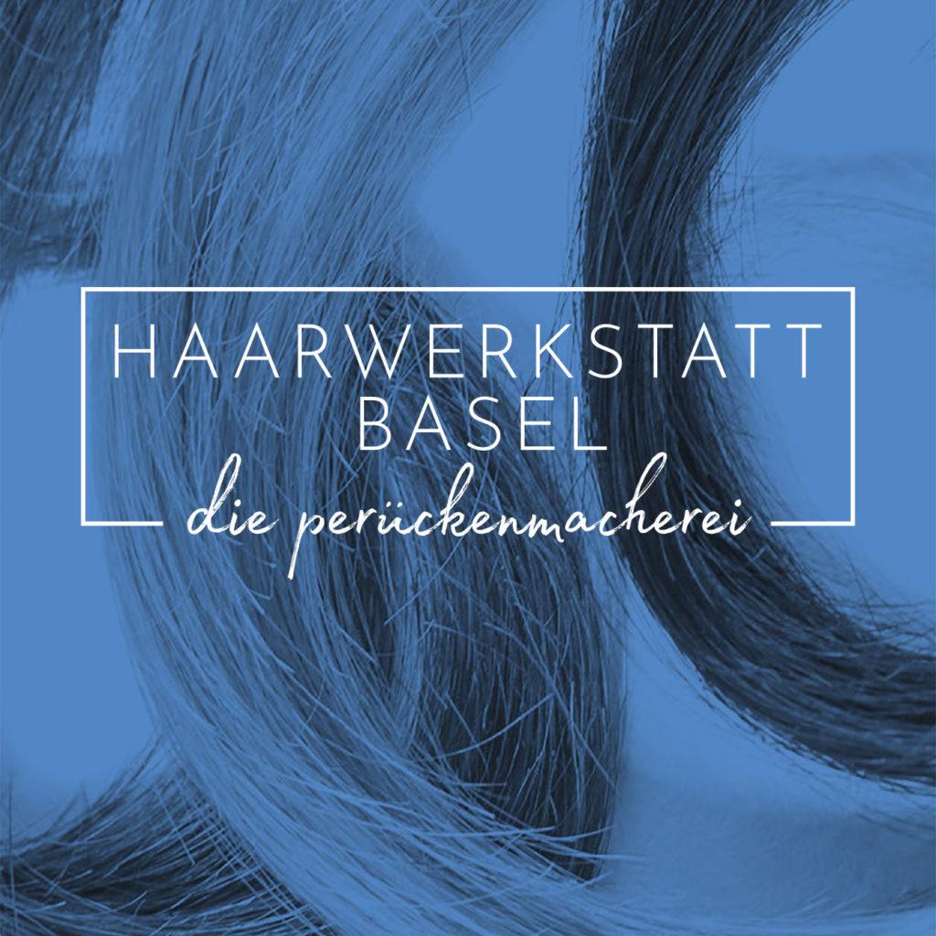 Logo der Haarwerkstatt Basel mit Locken für Perücken im Hintergrund