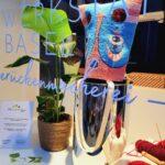 Kooperation mit gestickten bagheads von Diana Ammann und Pflanzen vom BluemeEgge, Basel